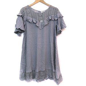 NEW UMGEE Gray Floral Crochet Lace Peasant Dress